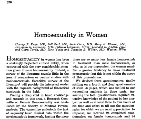Psychoanalyst disavows study of lesbians; questions the Bieber study