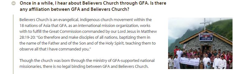 believers church legal GFA