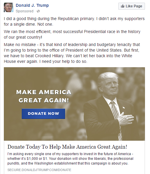 Trump donate FB Now