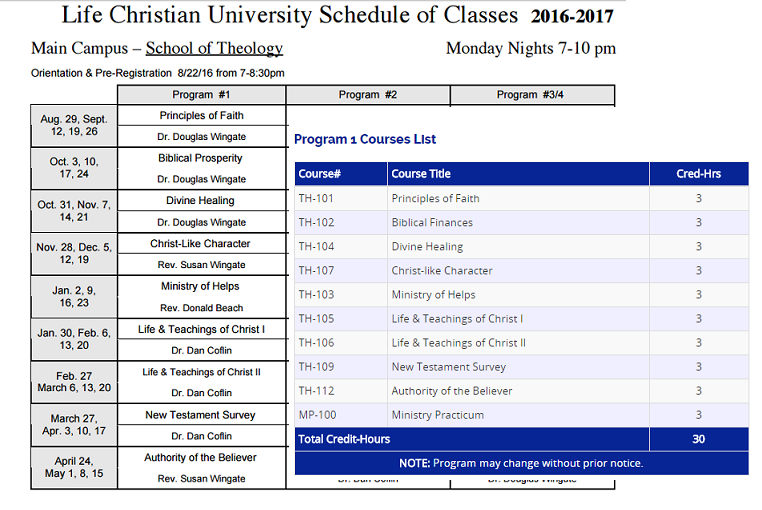 LCU course schedule plus