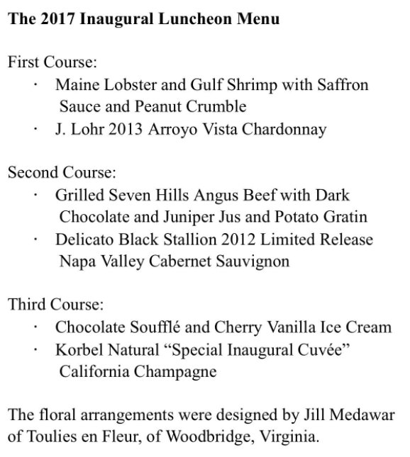 Inauguration lunch menu
