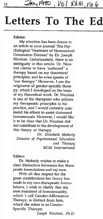 Moberly Nicolosi LtE Cal Psyc 1990