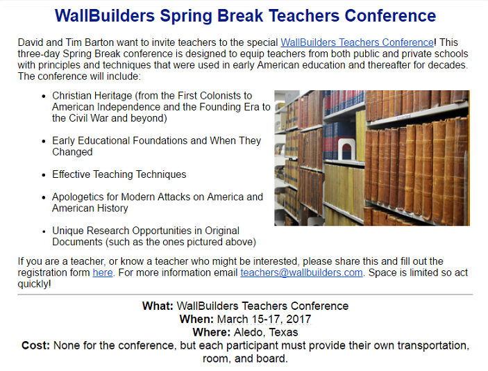 Wallbuilders Teachers Conference