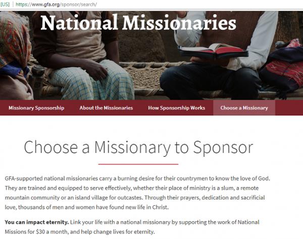 GFA Sponsor Missionary