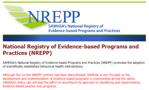 NREPP SAMHSA statement
