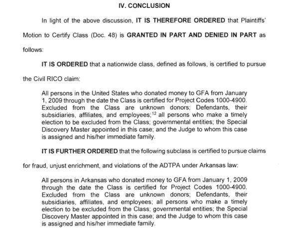 Nationwide and Arkansas Class Certified in Gospel for Asia RICO Case ...