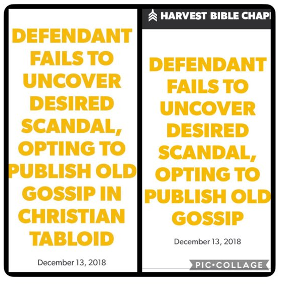 WORLD Publishes Long Awaited Story About Harvest Bible Chapel; Church Silent on Inclusion of Wives in Suit