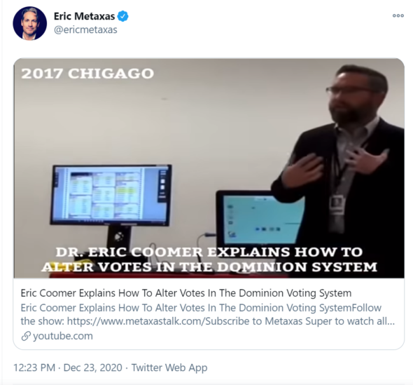 American Thinker Retracts False Claims About Voter Fraud and Dominion Voting Systems