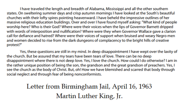 Martin Luther King, Jr. – Letter from a Birmingham Jail